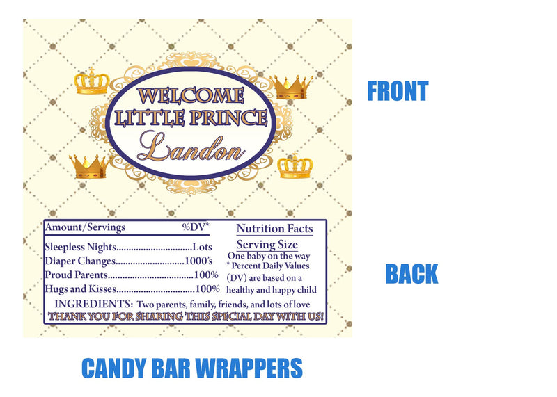 Prince Candy Bar Wrappers, Baby Shower