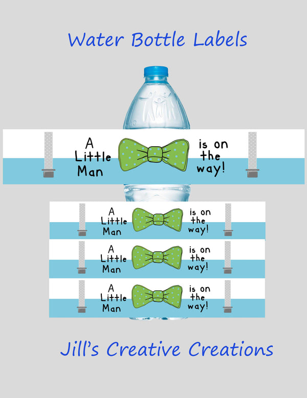 Little Man Baby shower water bottle labels