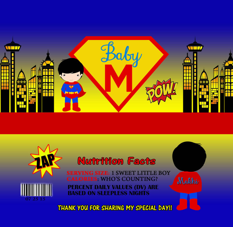 Superhero Baby Shower Candy Bar Wrappers