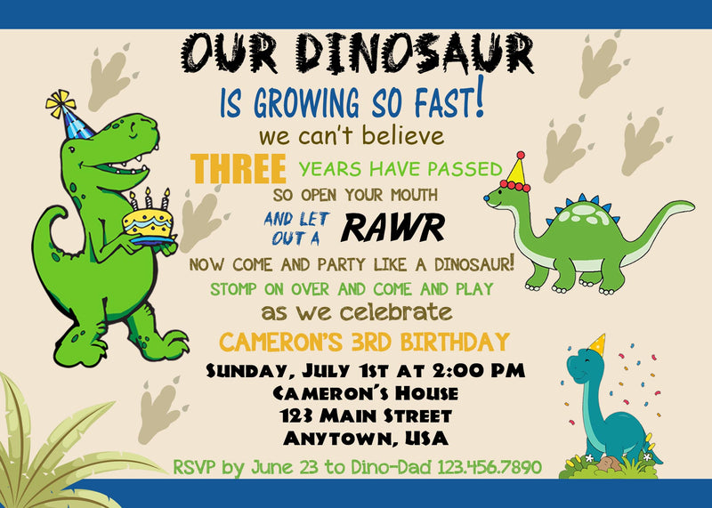 Dinosaur Birthday Invitation , Cake