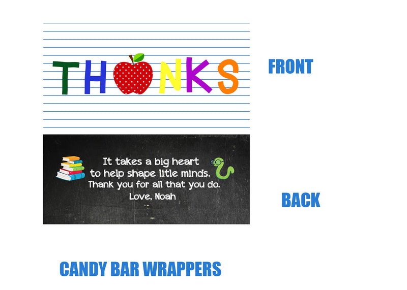Thank You Teacher Appreciation Candy Bar Wrappers, Last Day Of School