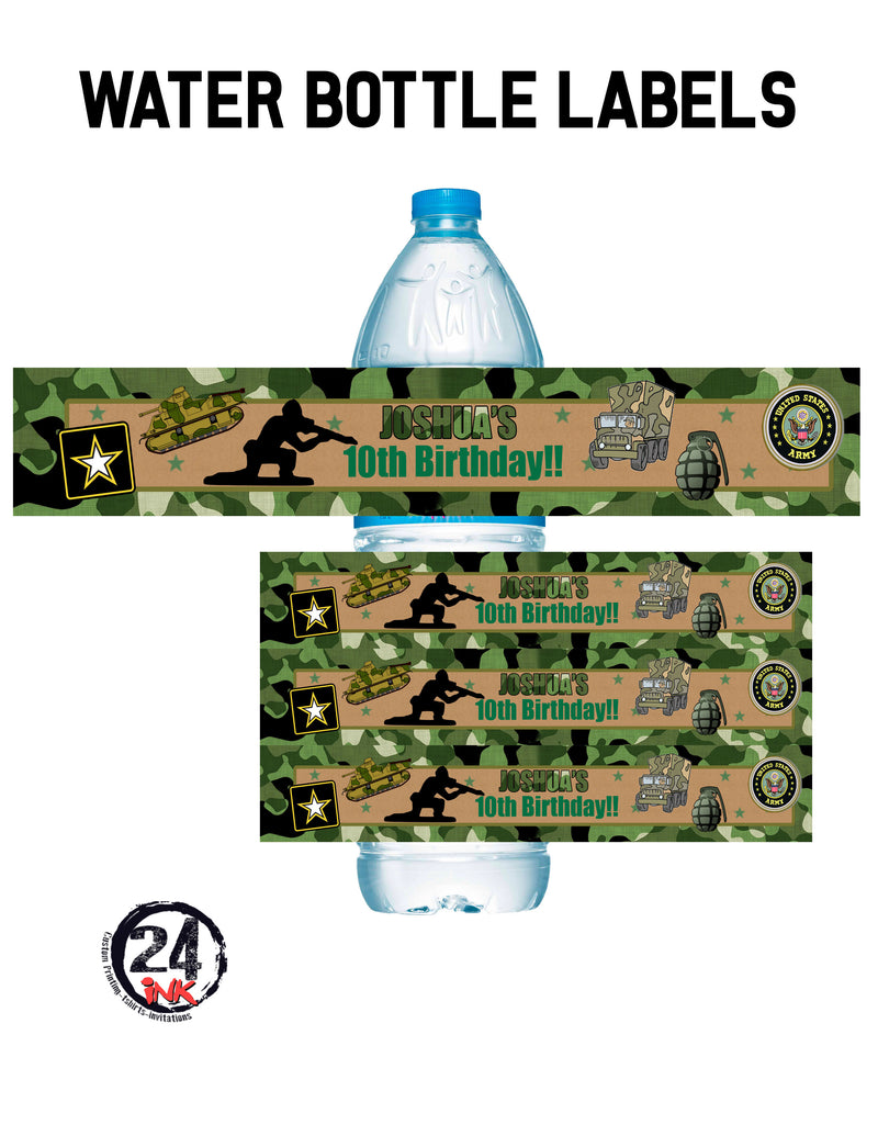 Army water bottle labels