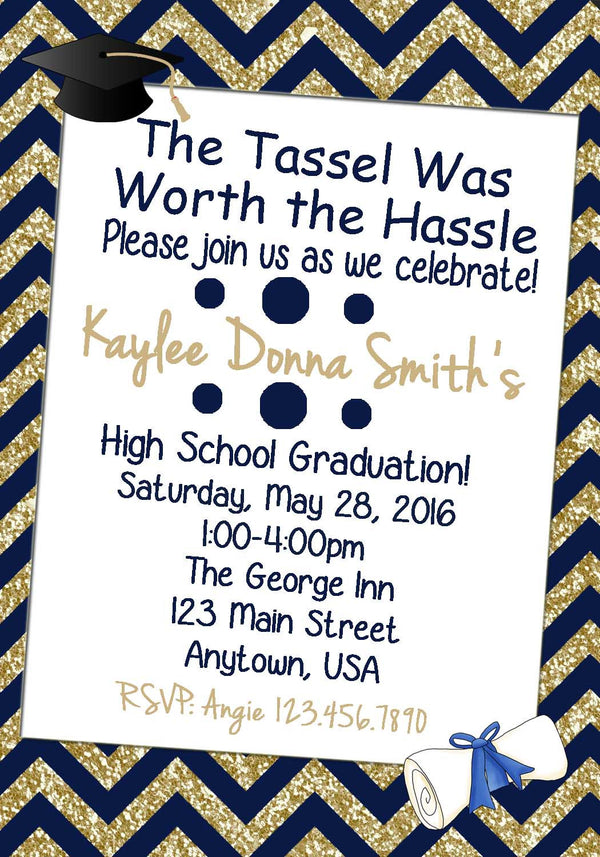 Chevron Graduation Invitation