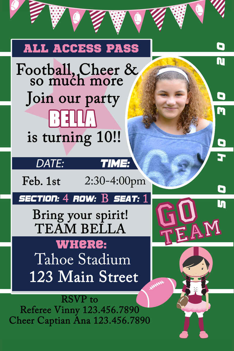 Football, Pep rally Birthday Invitation