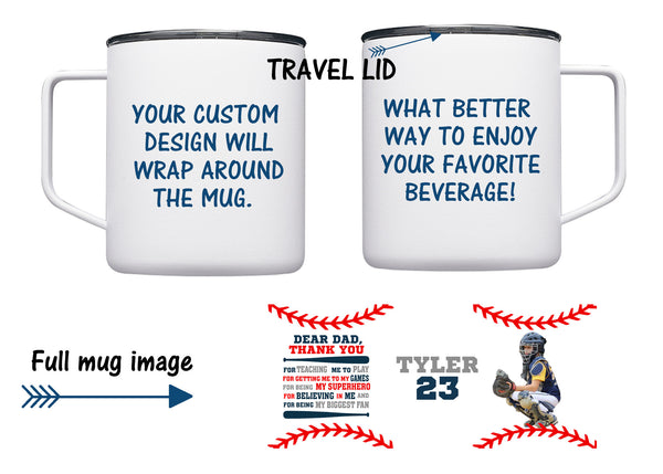 Personalized Baseball mug, Travel mug