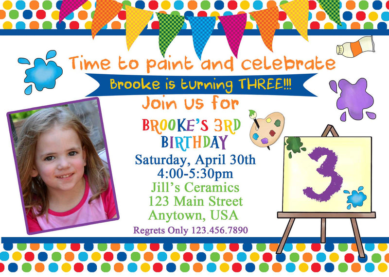 Painting Party Birthday Invitation