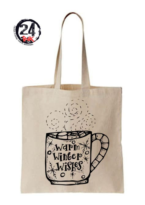 Christmas coloring tote bag, Winter