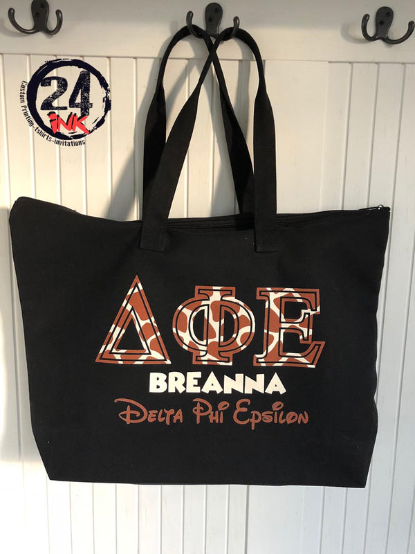 Sorority Tote Bag, Giraffe