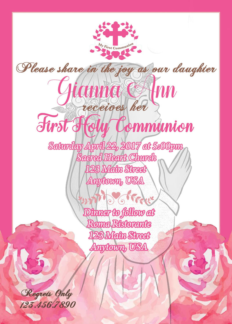Communion invitation,  Floral