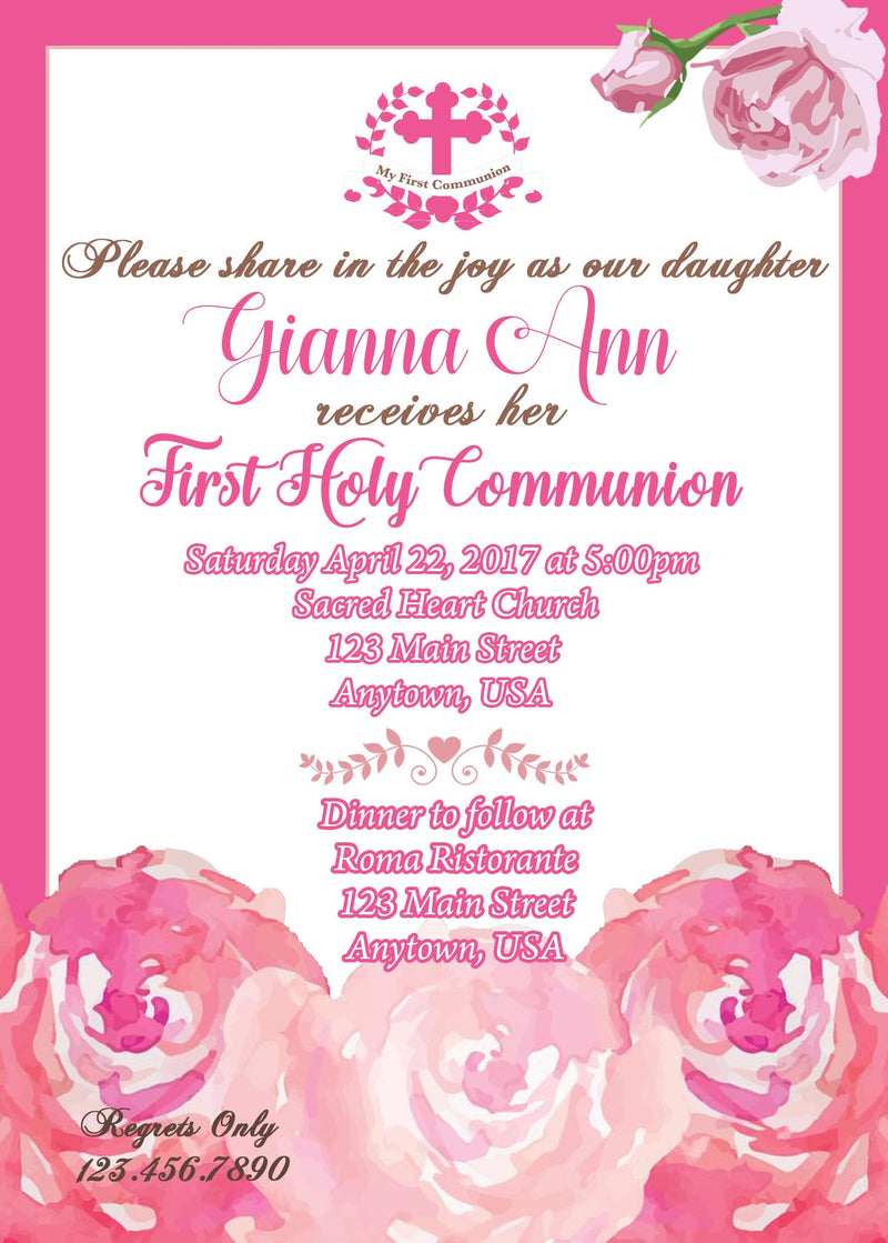 Floral Communion Invitation