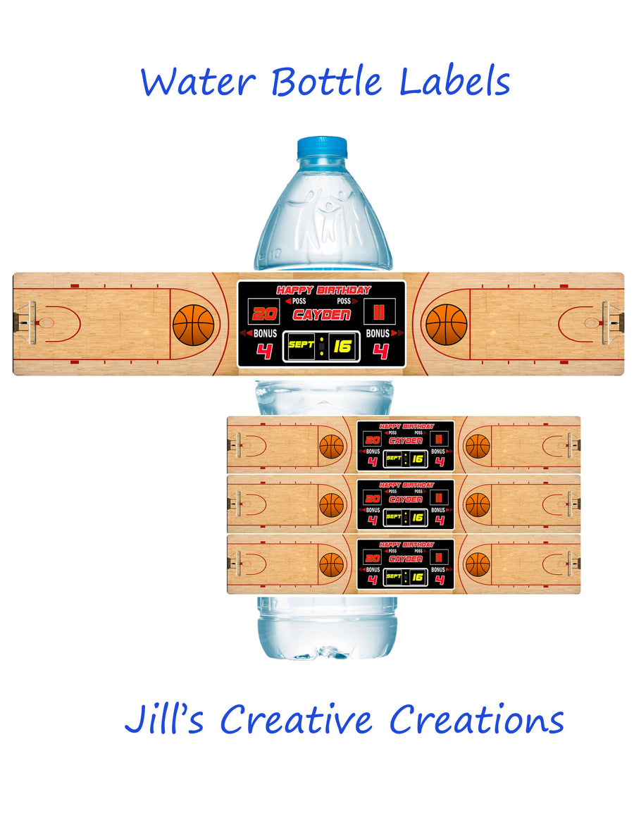 Basketball Water Bottle Labels