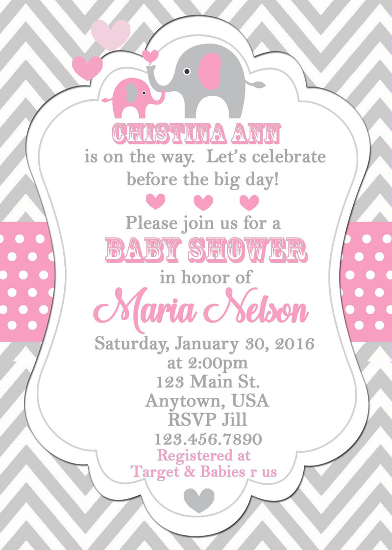 Elephant Baby Shower Invitation, Pink