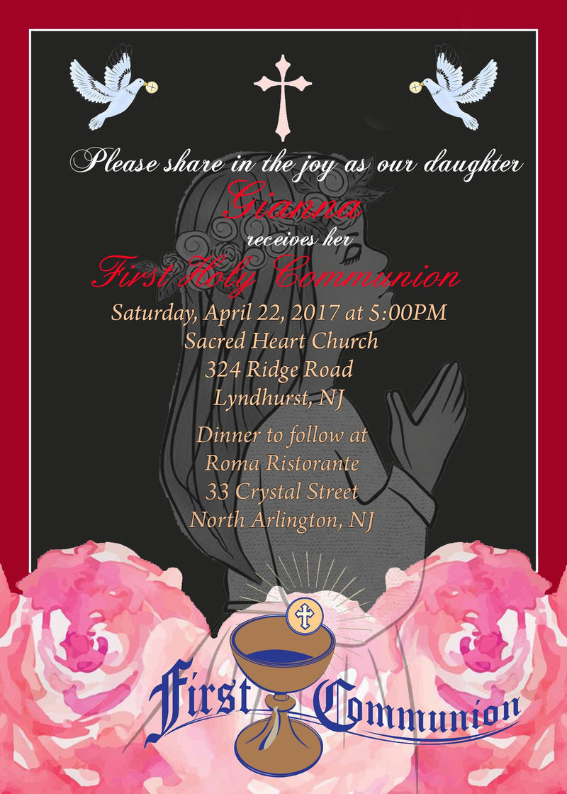 Communion Invitation, Black and pink