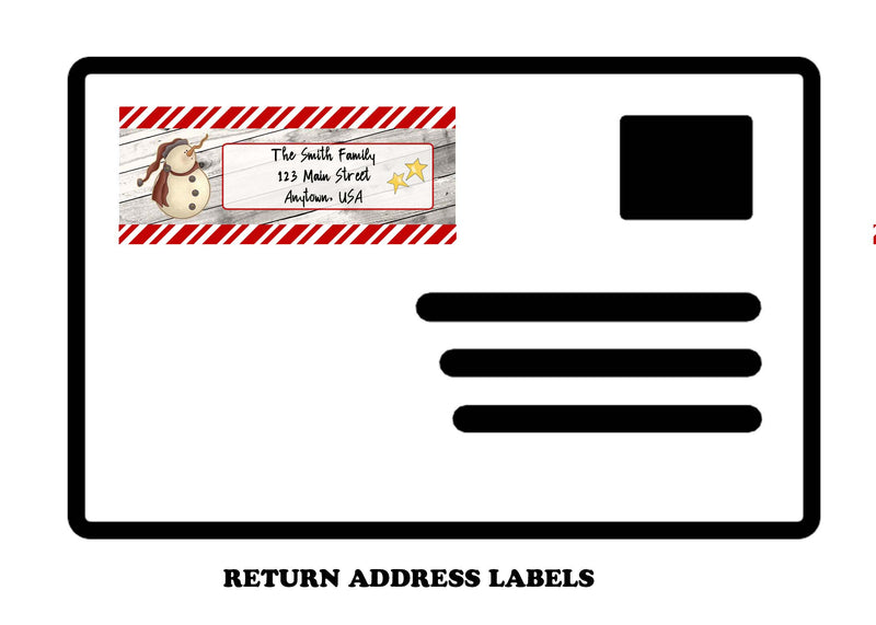 Holiday Return Mailing Address Labels, snowman