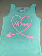 Three, Number Birthday Heart Tank