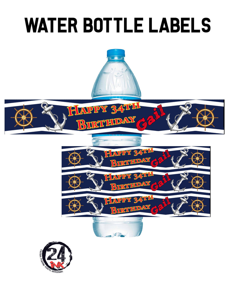 Nautical Birthday water bottle labels