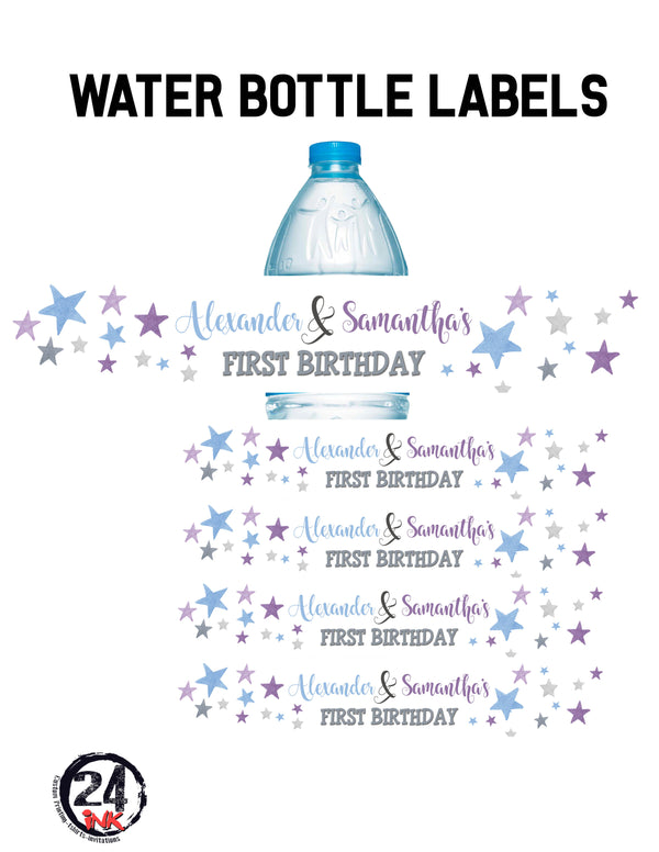 Stars water bottle labels