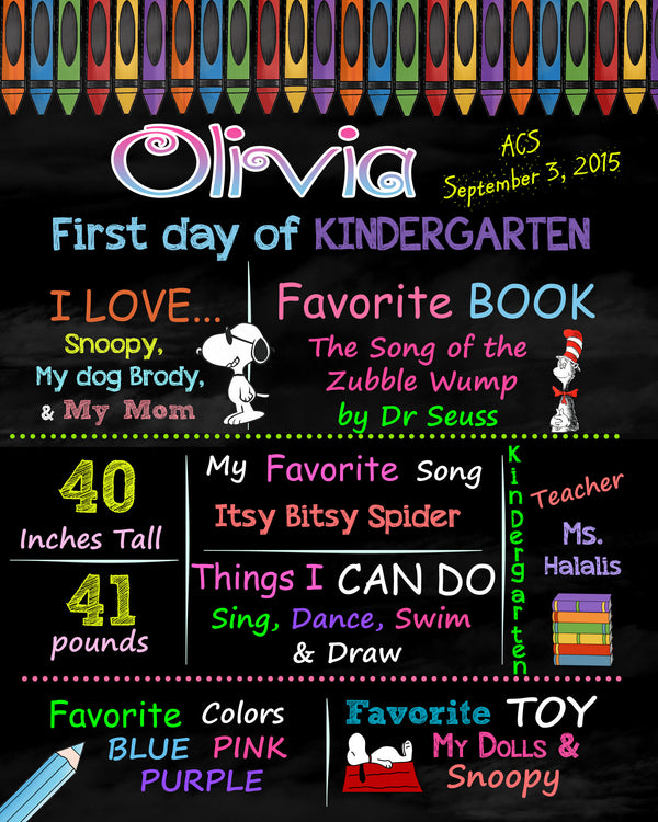 First day of Kindergarten sign, Back to school