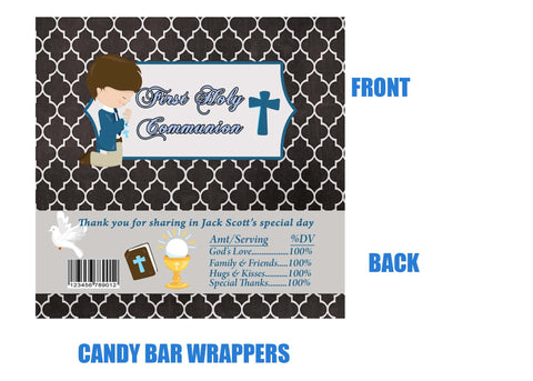 Communion candy bar wrappers