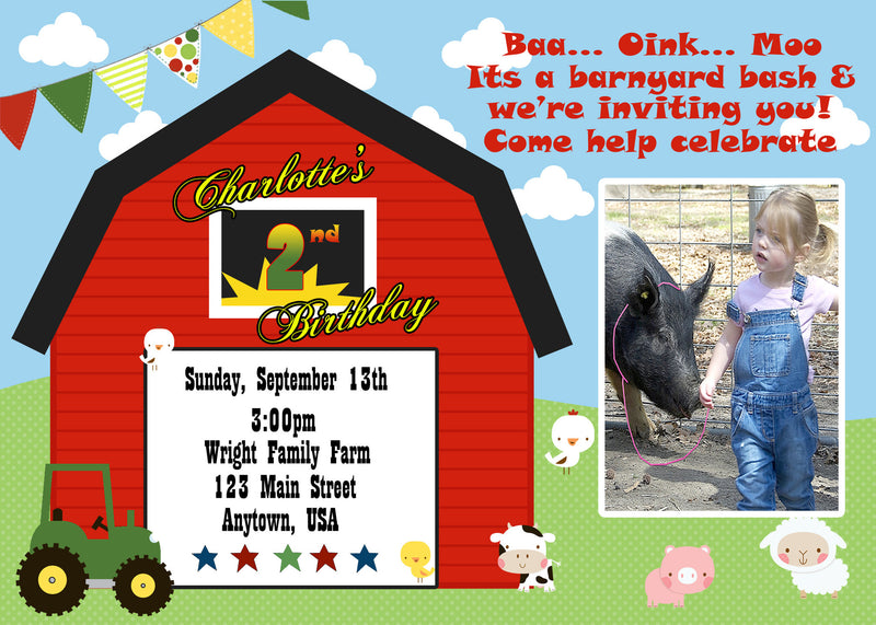 Farm Friends Birthday Invitation