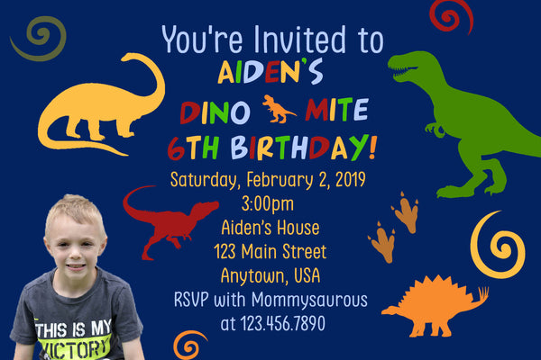 Dinosaur Birthday Invitation, Blue