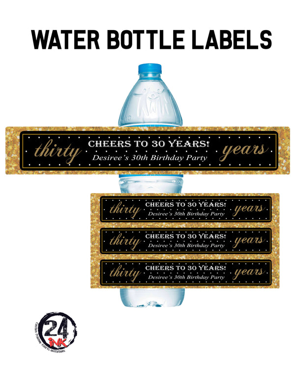 30th Birthday Water Bottle Labels
