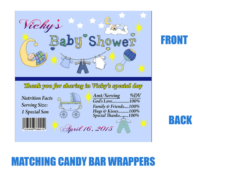 To the moon and back Baby Shower candy bar wrappers