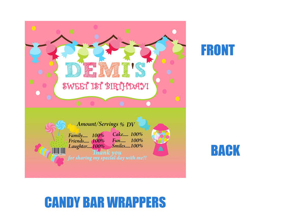 Candy theme Birthday candy bar wrappers