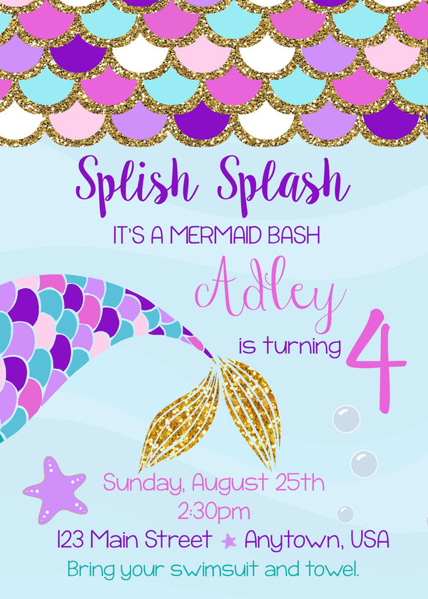 Mermaid Birthday Invitation, Pink