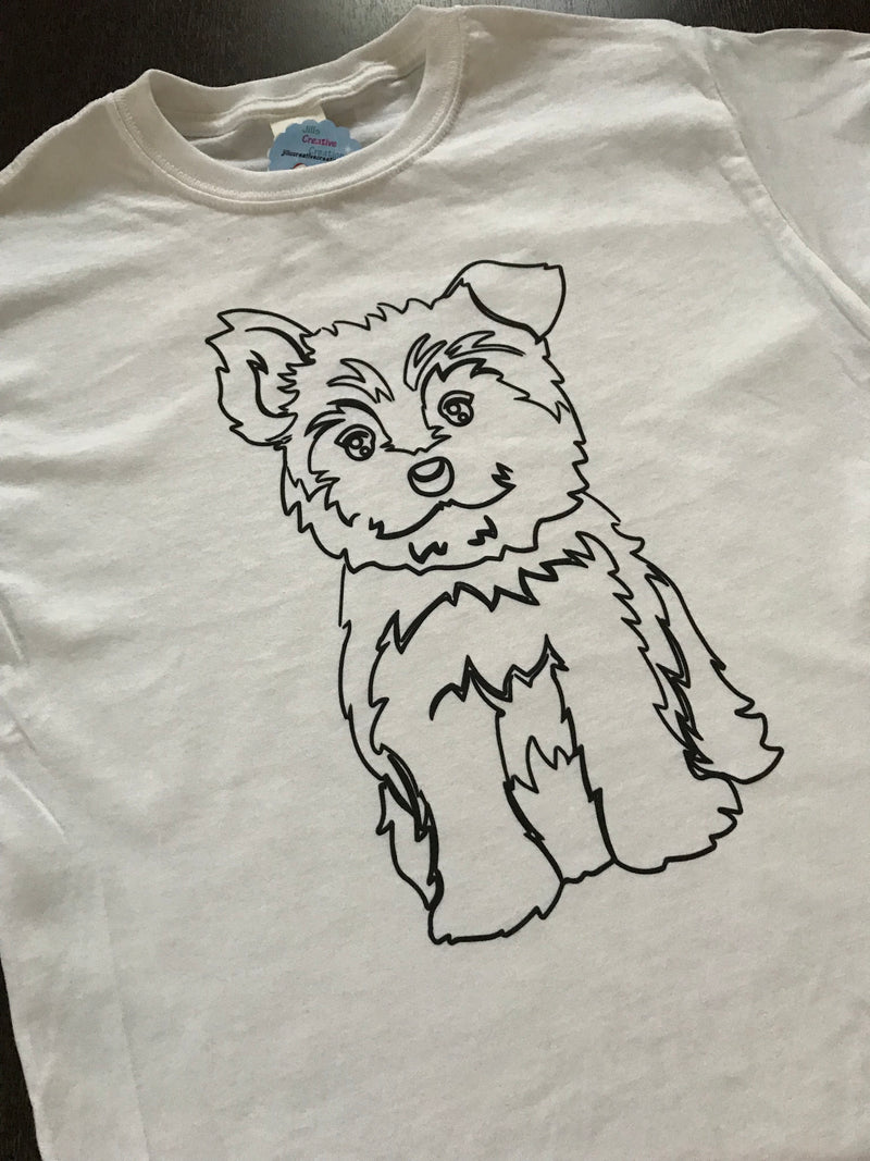 Yorkie Coloring T-shirt, Party Favor