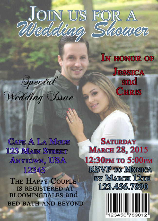 Magazine Cover  Bridal Shower Invitation