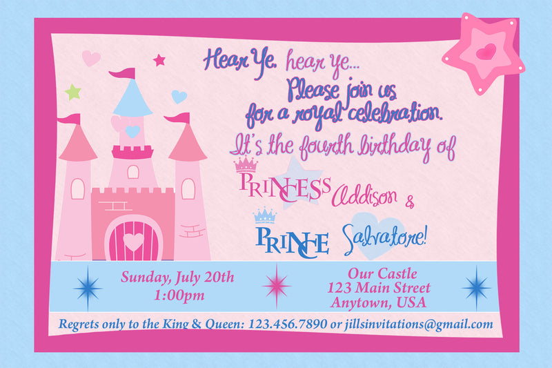 Princess & Prince Birthday Invitation