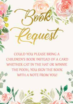 Roses Baby Shower Book Card, Floral