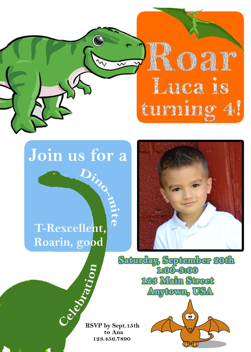 Dinosaur Birthday Invitation, Dinosaurs