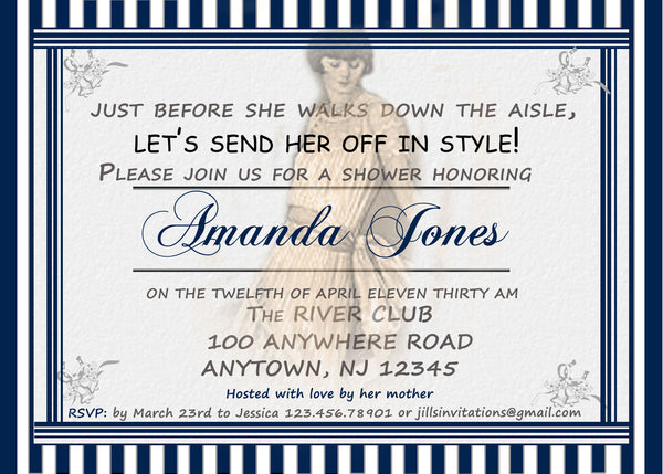 1920's Style Bridal Shower Invitation