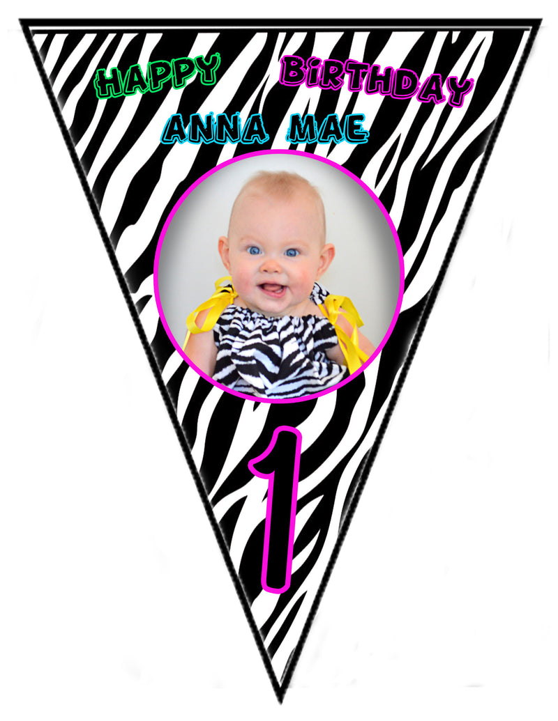 Zebra Birthday Banner