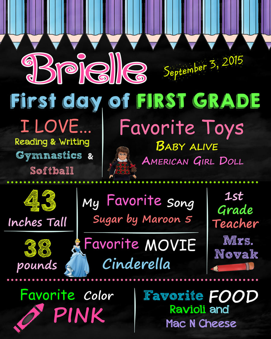 First Day of First Grade Birthday Sign, Chalkboard poster