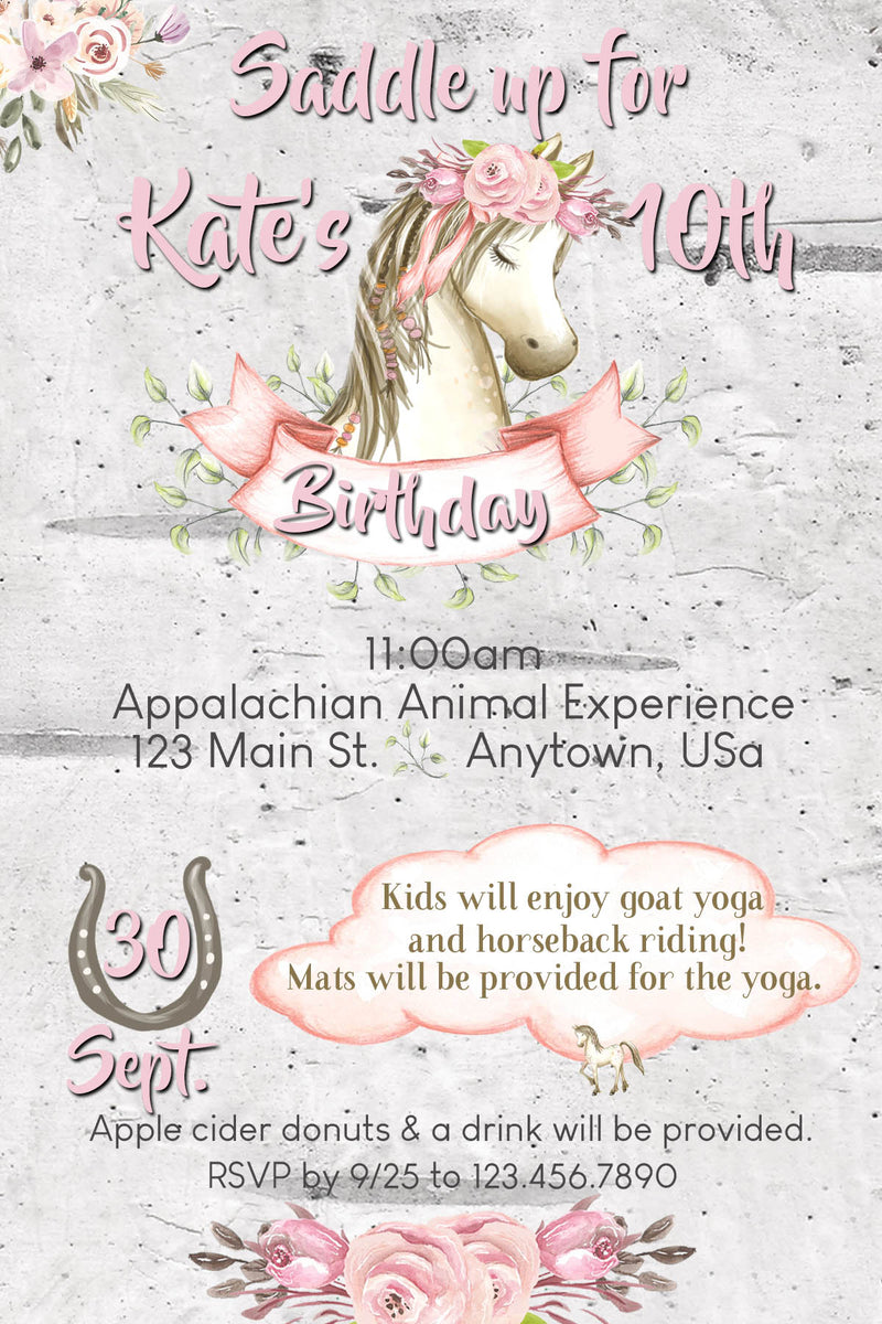 Unicorn Birthday Invitation, Horseback riding