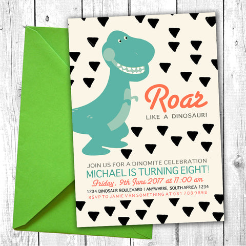 Dino Party Invite (Digital Download) Bazinga Shop