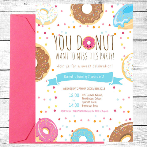 Donut Party Invite Digital Download