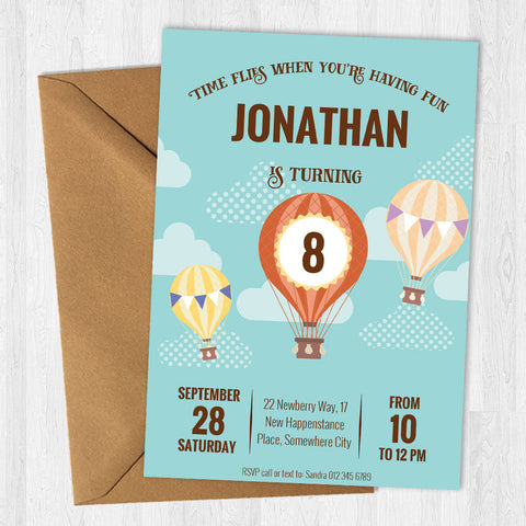 Hot Air Balloon Party Invite Bazinga Shop
