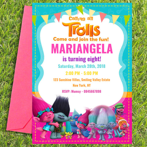 Trolls Party Invite Digital Download Bazinga Shop