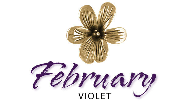 february birth flower jewelry. violet jewelry and charms