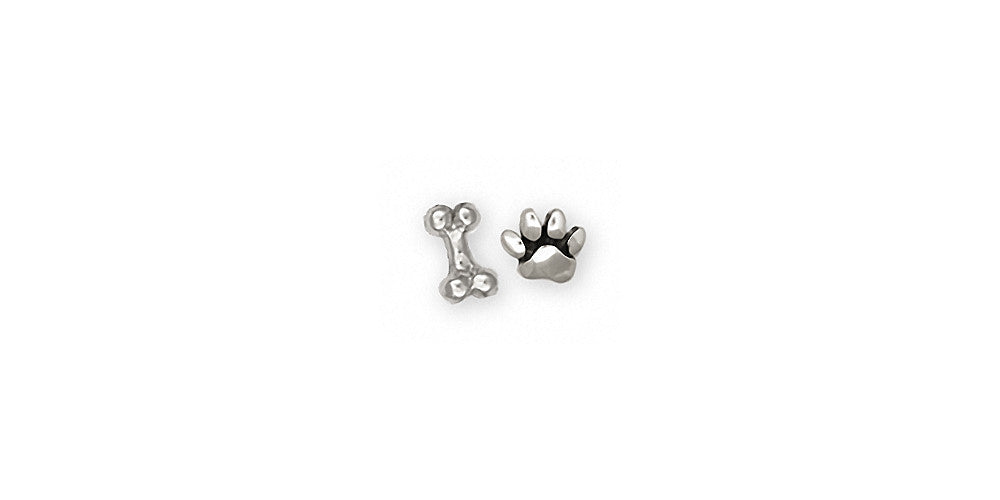 Dog Bone And Paw Charms Dog Bone And Paw Earrings Sterling Silver Dog Jewelry Dog Bone And Paw jewelry