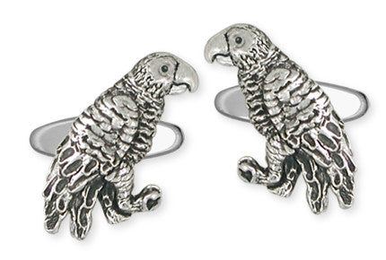 African Grey Parrot Cufflinks Solid Sterling Silver Jewelry   AFG1-CL