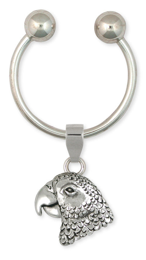 African Grey Parrot Key Ring Solid Sterling Silver Jewelry   AFG2-KR