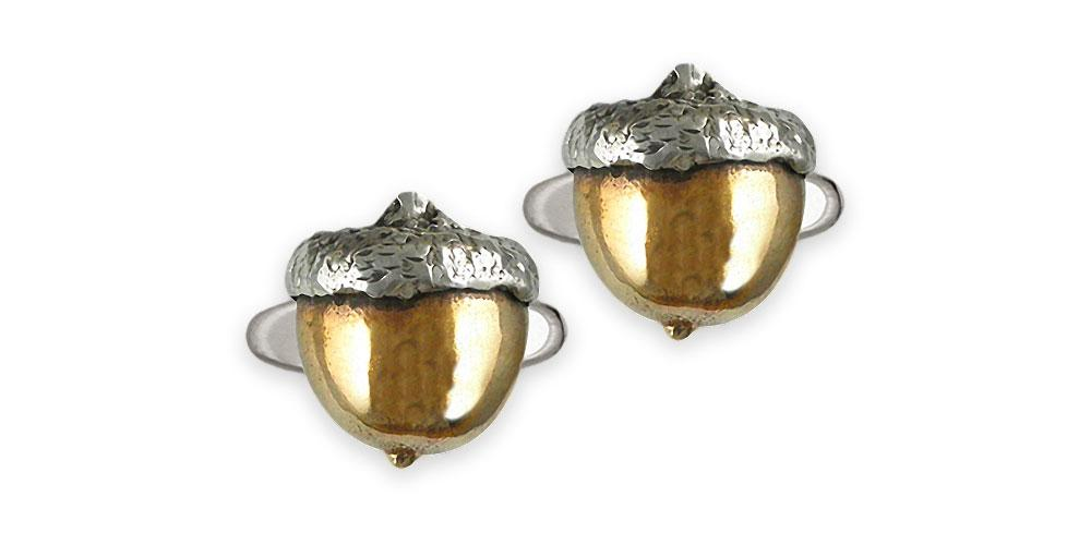 Acorn Charms Acorn Cufflinks Sterling Silver And Yellow Bronze Acorn Jewelry Acorn jewelry