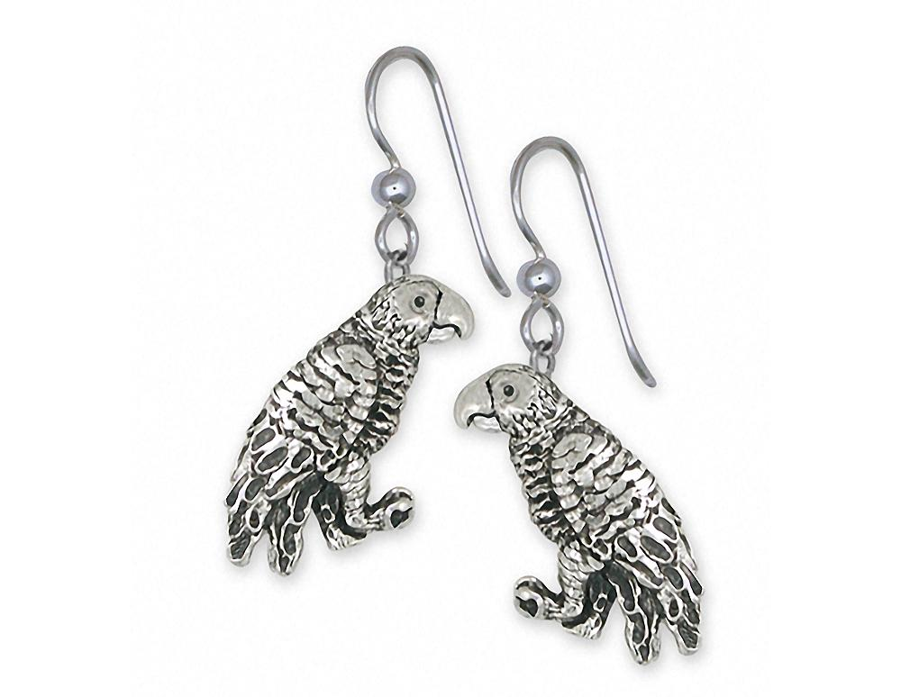 African Grey Charms African Grey Earrings Sterling Silver Parrot Jewelry African Grey jewelry