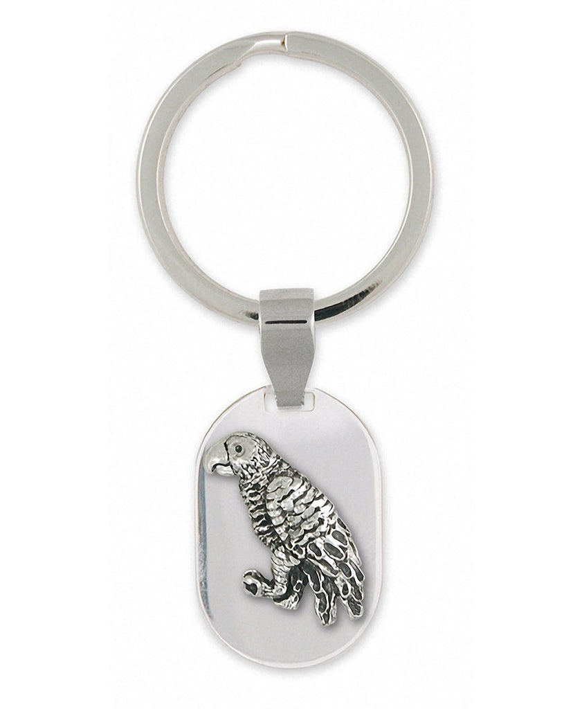 African Grey Charms African Grey Key Ring Sterling Silver Parrot Jewelry African Grey jewelry