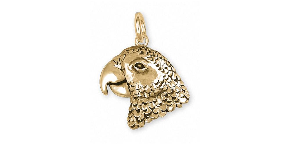 African Grey Charms African Grey Charm 14k Gold Parrot Jewelry African Grey jewelry